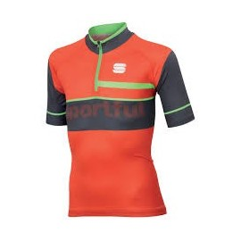 Sportful Squadra Corse Kid Jersey Fire Red/Anthracite/Green Fluo Sportful 1101906-051